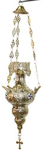 Large Brass Greek Orthodox Oil vigil lamp - 24 Inches with Red Votive for oil *** Click image to read more details. #CandleAccessories