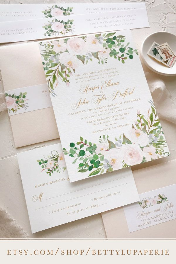 Watercolor Blush Greenery Wedding Invitation Bohemian Spring