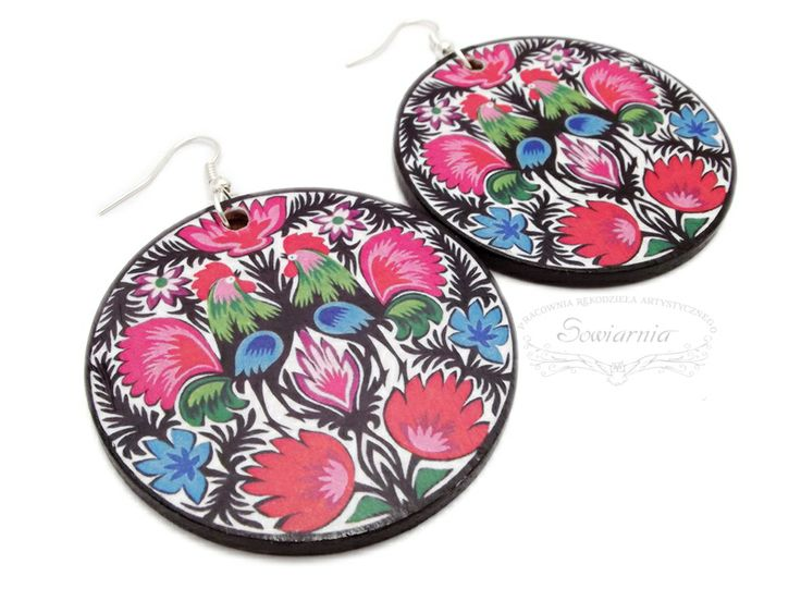 Decoupage folk earrings