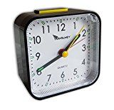Analog Travel Alarm Clock, No Ticking, Alarm, Snooze, Light   COMPLETELY SILENT – The Travelwey Desktop Analog Clock comprises a sweep second hand that is completely silent ideal, non ticking, for those who need complete silence to fall asleep. ALARM AND SNOOZE – The alarm is loud...