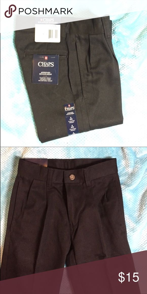 CHAPS Size 12 Boys' Black Pant NWT boys' black, pleated front pant by CHAPS. Wrinkle free. Adjustable waist band. Perfect for school uniforms! Size 8 Slim. Smoke free home. (And can definitely be worn by a girl too!) Chaps Bottoms Casual