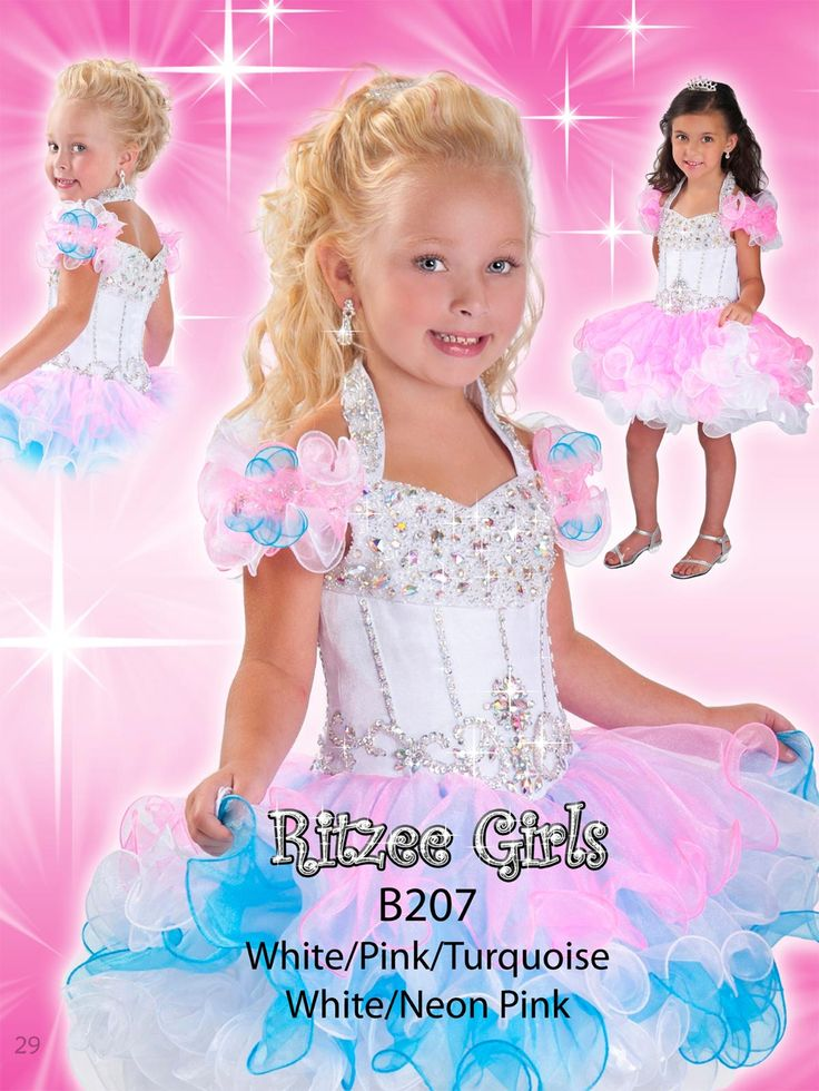 Size 6 White/Pink/Turquoise In StockAngelic organza pageant dress for toddlers Ritzee Girls B207. Little girls are made of angel's wings. Little girls amaze the crowd with the sweetest giggles, when walking the stage in this cupcake pageant dress featuring ruffled off the shoulder straps with beaded halter top. Iridescent stones and beads spark along the midriff and a multi-colored ballerina inspired skirt ruffles magically. Cupcake gown available in White/Pink/Turquoise and White/Neon Pink…