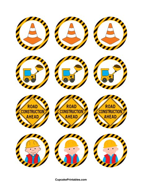 Construction cupcake toppers. Use the circles for cupcakes, party favor tags, and more. Free printable PDF download at http://cupcakeprintables.com/toppers/construction-cupcake-toppers/