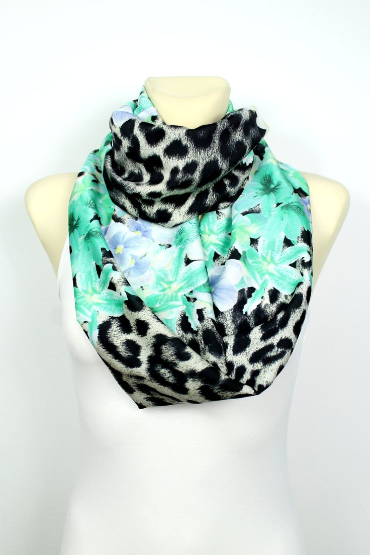 Turquoise Infinity Scarf - Floral Print Infinity Scarf - Leopard Infinity Scarf - Printed Fabric Infinity Scarf - Women Fashion Accessories (26.00 EUR) by LocoTrends