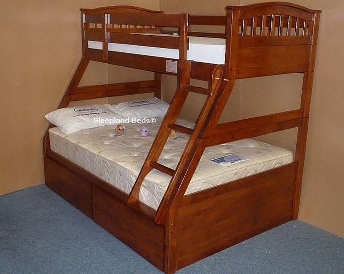 cherry oak three sleeper cosmos triple bunk bed in cherry oak finish nautical themed bedroom. Black Bedroom Furniture Sets. Home Design Ideas