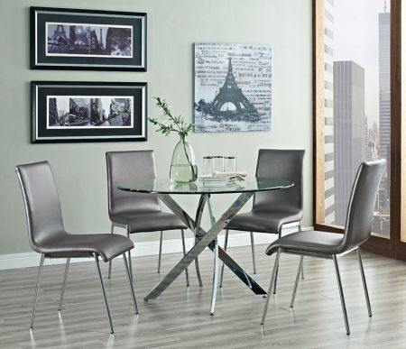 Image of Putnam 205-413M1 5-Piece Dining Room Set with Round Table Dining Table and 4 Side #DININGTABLE