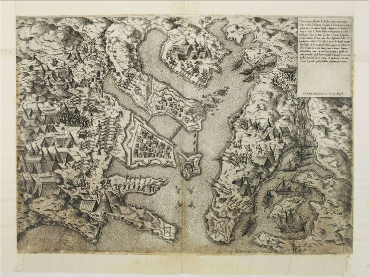 """August 4, #MaltaMapMonday we wanted to to share one early printed map of the Great Siege of Malta. Antione Lafréry's """"Ultimo disegno delli forti di Malta uenuto novamente"""" published in Rome: 1565. Photo courtesy of the Library of Congress."""