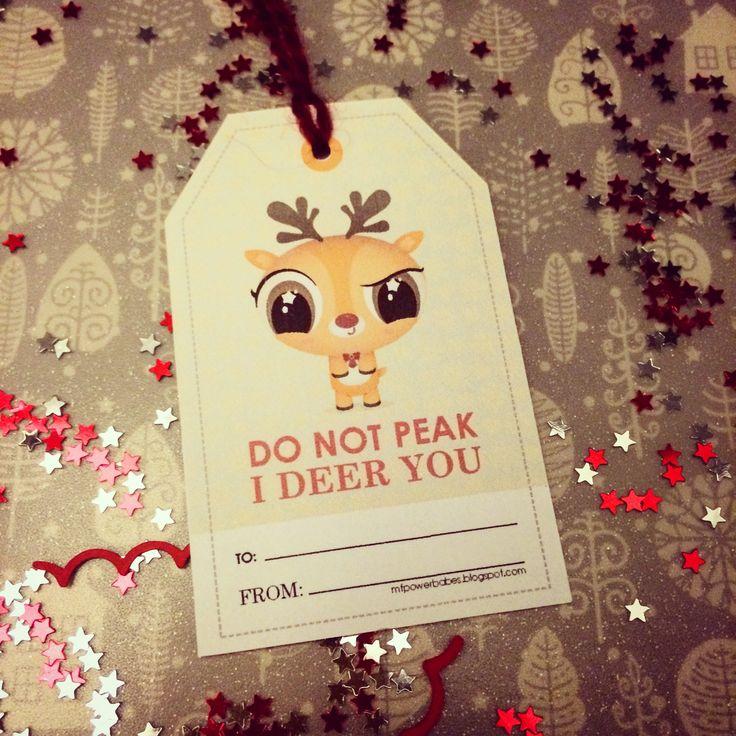 I deer you! My xmas tags freebie printable Reindeer. Kawaii style. Enjoy!
