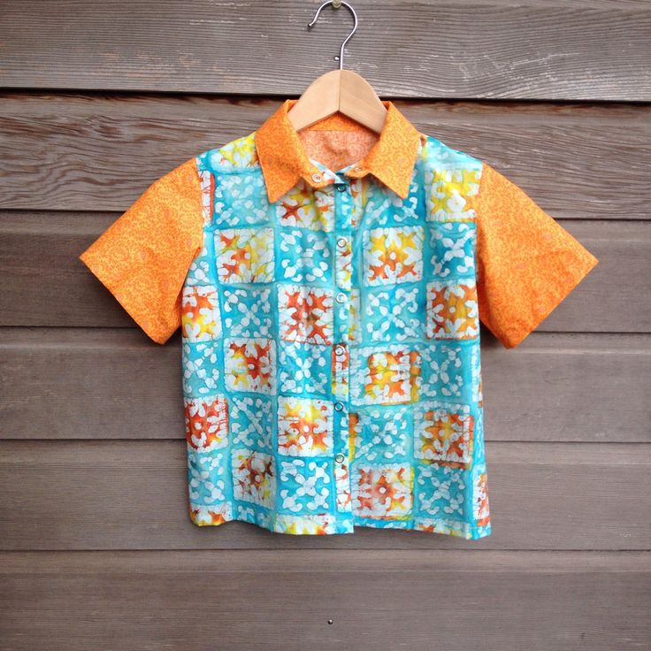 Girls retro bowling shirt / Orange and turquoise hipster shirt / funky party shirt with batik / rockabilly shirt / Made to order by LittleFieldBirch on Etsy