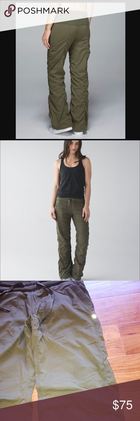 Lululemon Studio Pant II in Fatigue Green SZ 8 These are regular size not long they are lined. Lululemon's dance studio pants are known for having elastic waistbands that roll meaning elastic just bends over. The waistband is rolled on these pants doesn't affect the pants in anyway shape or form. Very hard to find color my price is firm excellent shape no damage whatsoever. lululemon athletica Pants Track Pants & Joggers