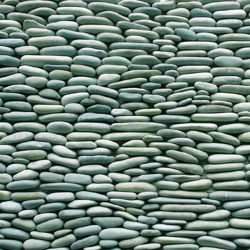 """Solistone 15-Pack 4"""" x 12"""" Standing Decorative Pebbles Turquoise Natural Stone Wall Tile"""