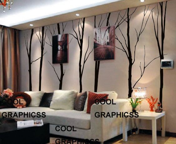 Large Winter Trees - Set of 7 trees - 102 inches -Vinyl Wall Decal Sticker Art,Wall Hanging, Mural on Etsy, $93.12 CAD