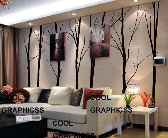 Customer listing for Austin  - Large Winter Treesg - Set of 7 trees -Vinyl Wall Decal Sticker Art,Wall Hanging, Mural. $78.00, via Etsy.