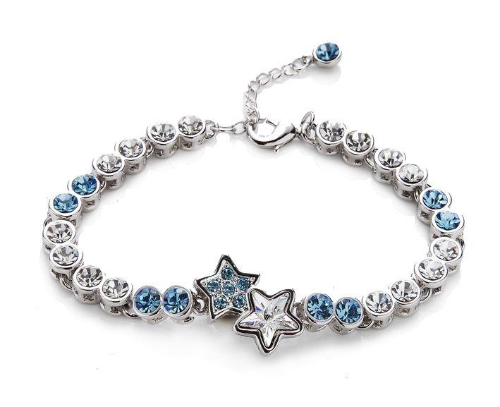 armband silber damen stern swarovski kristall wei blau