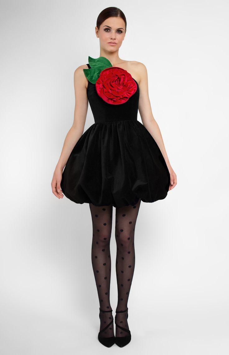 Asymmetric one-shoulder cotton velvet dress. Balloon skirt. Designer handmade three-dimensional velvet rose. Hidden back zip closure. Without pockets.