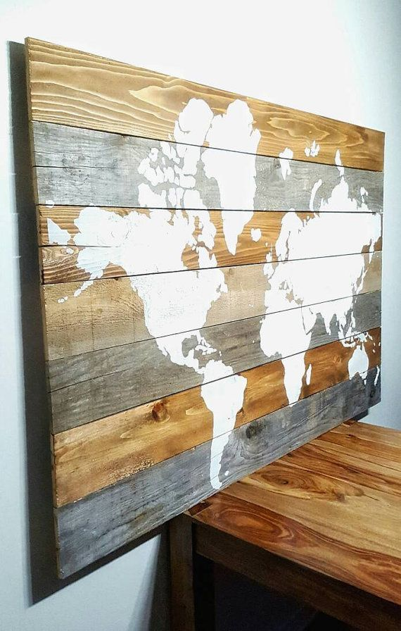 World Map on Wood Map Mondiale sur Bois by AriesDenHomeDecor