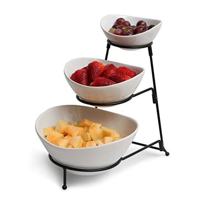 Rank & Style - Gibson 3 Tiered Oval Chip And Dip Set With Metal Rack #rankandstyle