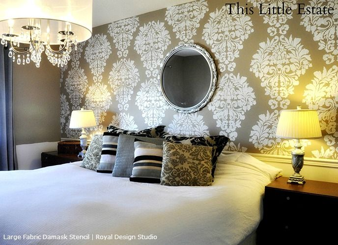 Stenciled feature wall designs damask wall stencils - Purple feature wall living room ideas ...