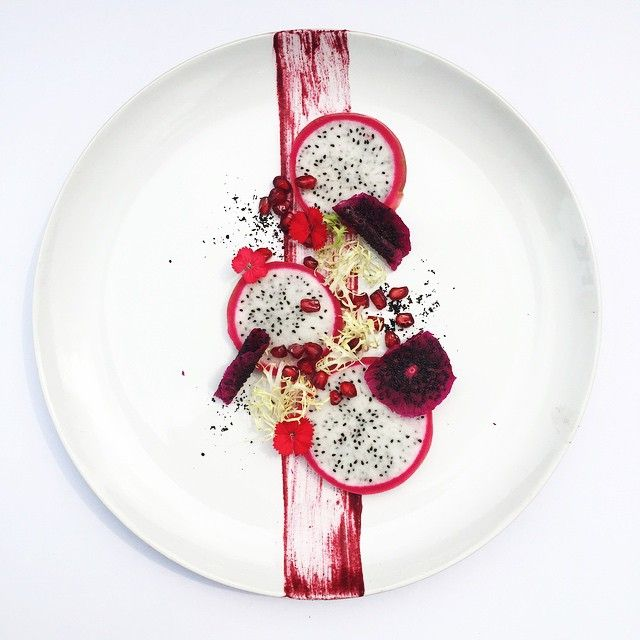 Deconstructed by royalebrat  (Nick) Vietnamese dragon fruits / dehydrated purple dragon fruits / pomegranate / frisée / beet purée.  #deconstructed #foodartist #beautifulfood. TK