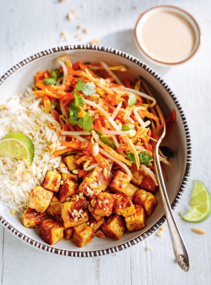 Recette de tempeh grillé et salade de carottes au lait de coco de Ricardo