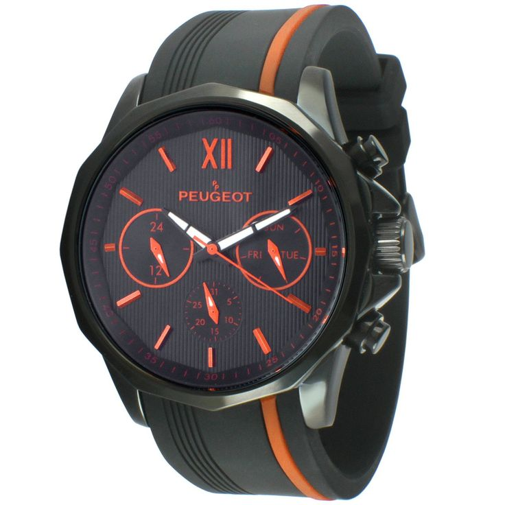 Peugeot Multi-Function Rubber Sport Men's Watch - Black/ Orange