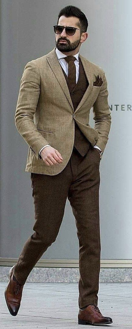 tufanir - with an excellent brown combo featuring a light brown blazer  dark brown waistcoat brown tie white spread collar shirt dark brown pocket  square ... dae368b66825