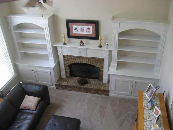 I added built in bookshelves around fireplace in living for Built ins living room ideas