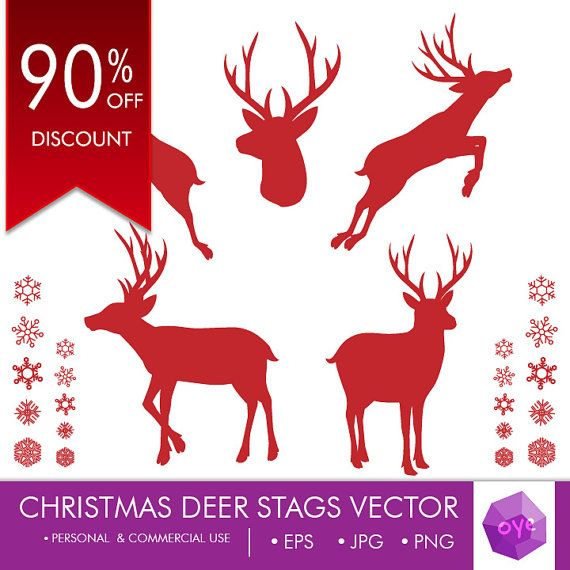 90% OFF DISCOUNT,  Christmas Deer Stags Silhouette by oyedesign