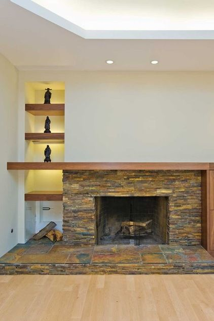 Fireplace with Firewood Storage - contemporary - family room - san  francisco - Bill Fry Construction - Wm.