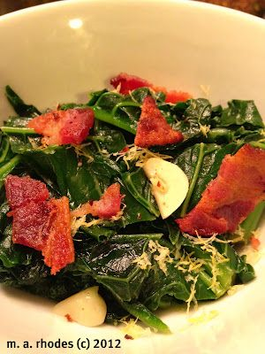 Lemon Garlic Sauteed Kale with Bacon