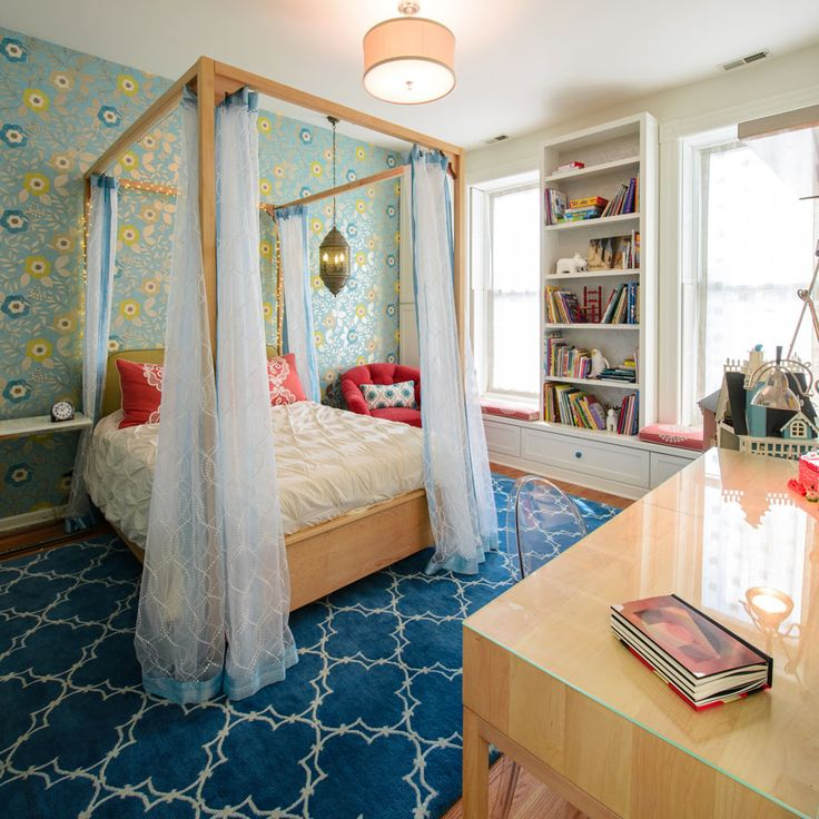 Chicago.  Lincoln Park |  Child's bedroom with accent wallpaper, custom storage bed + custom canopy bed panels