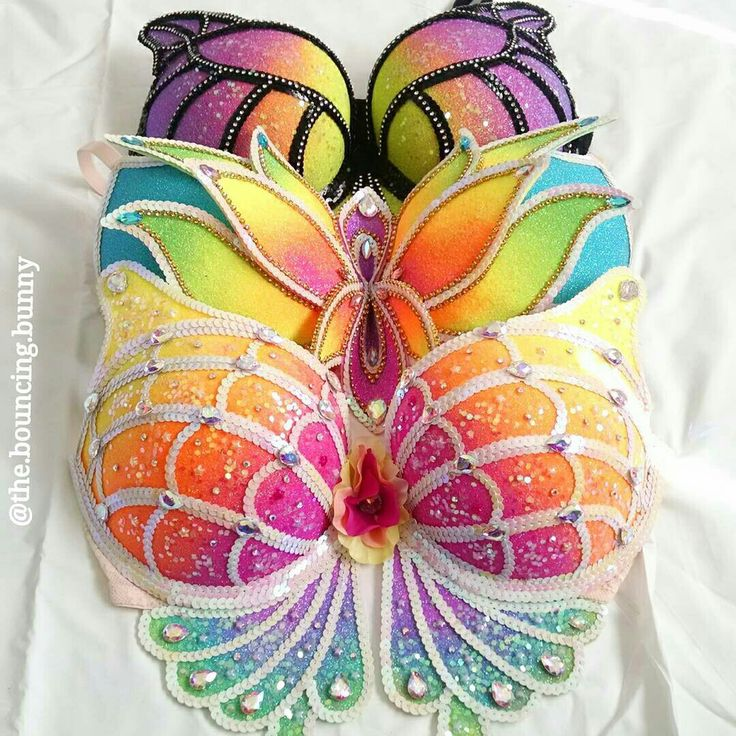 Rainbow mermaid rave bra EDC outfit festival fashion butterflies neon glitter lotus monarch