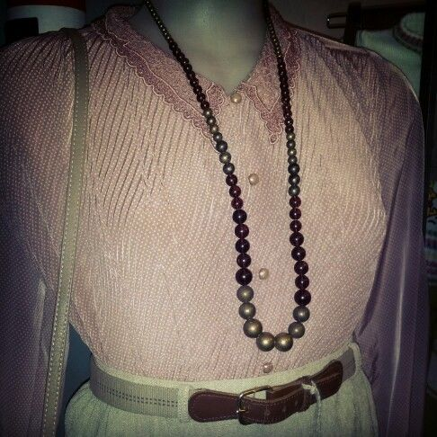 #dusty #pink #polkadot #blouse with #doilie #collar $35 #pretty