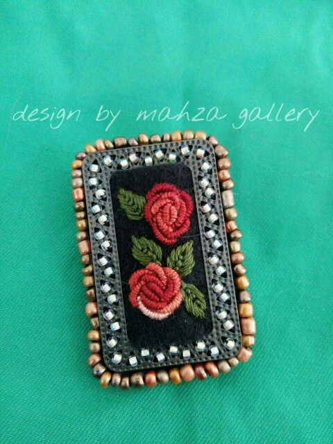 Mini brooch with metal frame,beads n hand embroidery - love it!!! https://m.facebook.com/TheMahzaGallery