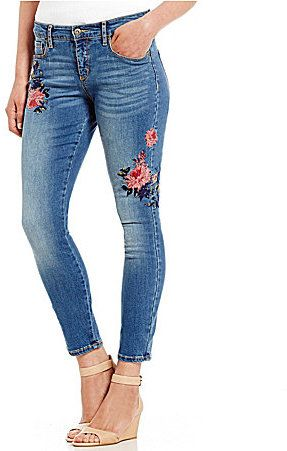 Miraclebody Jeans MIRACLEBODY JEANS Faith Floral Embroidered Ankle Jeans