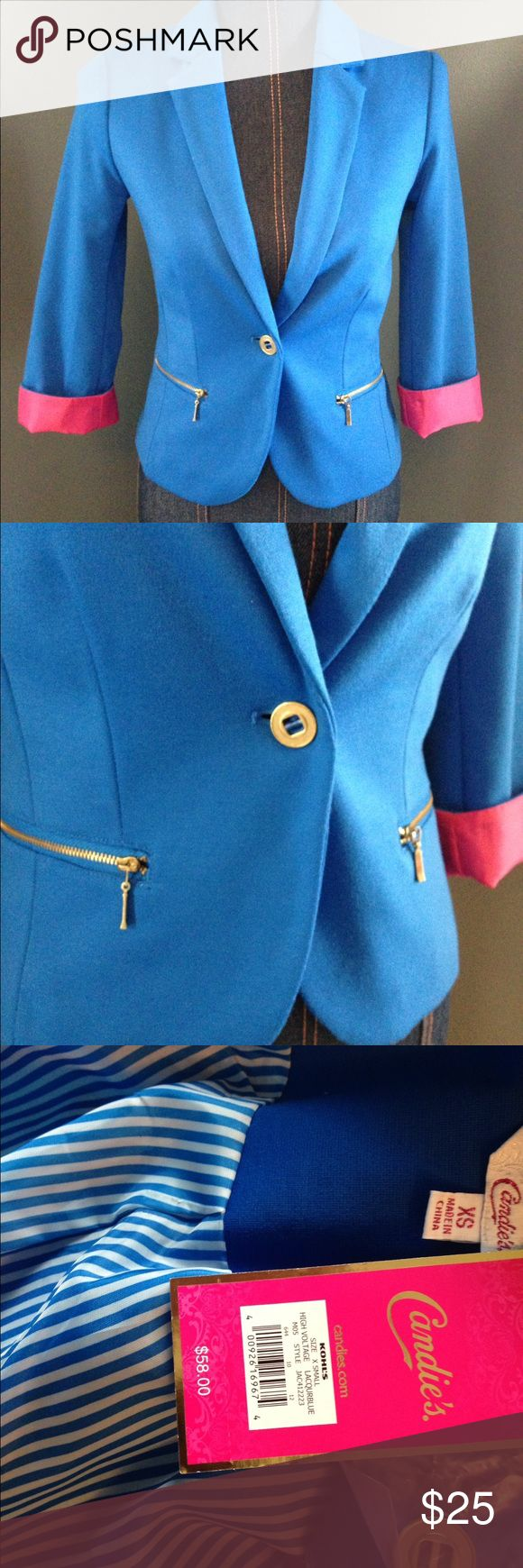 Royal Blue Blazer Beautiful blue blazer. Super cute pink cuffs. Candie's Jackets & Coats Blazers