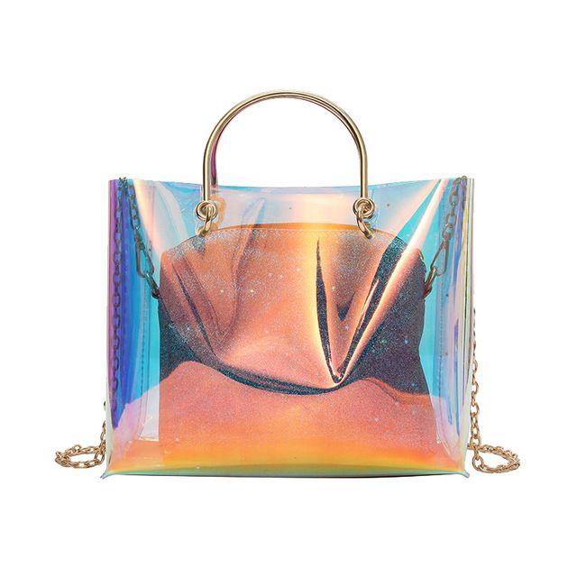 1f07a7360b27 Source 2018 Women Rainbow Hologram Clear Bag Over Size Tote laser Transparent  Handbag on m.alibaba.com