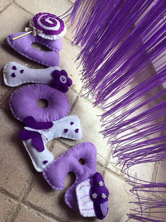 fiocco nascita Nome viola feltro fiore regalo kids di FattoDaDesy