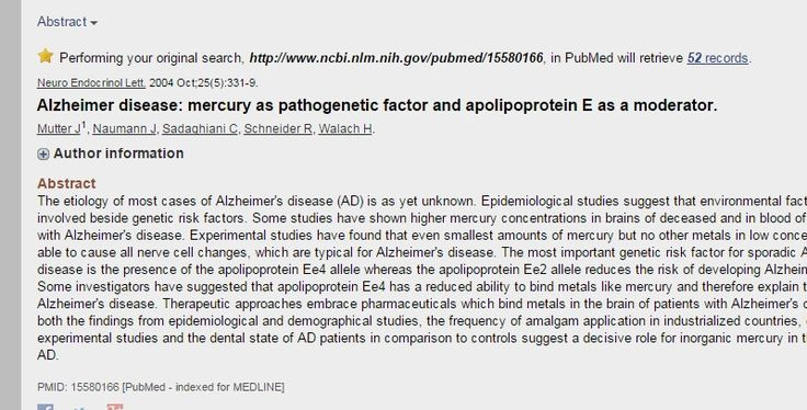 Alzheimer disease: mercury as pathogenetic factor and apolipoprotein E as a moderator. - PubMed - NCBI