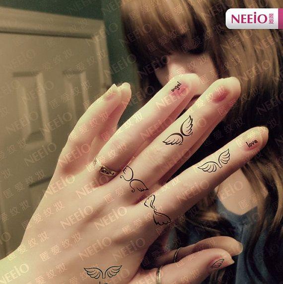 Angel love wing tattoos finger wrist hand arm by Coolfashion4u