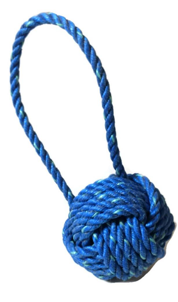 Weighted Monkey Fist Knot Doorstop made with Reclaimed Lobster Rope Monkey Fist Knot