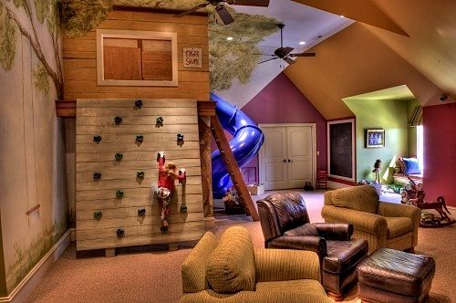 Wow... I maybe 27, but I want this...: Playrooms Ideas, Dreams Houses, Kids Playrooms, Trees Houses, Climbing Wall, Plays Rooms, Plays Area, Basements, Kids Rooms