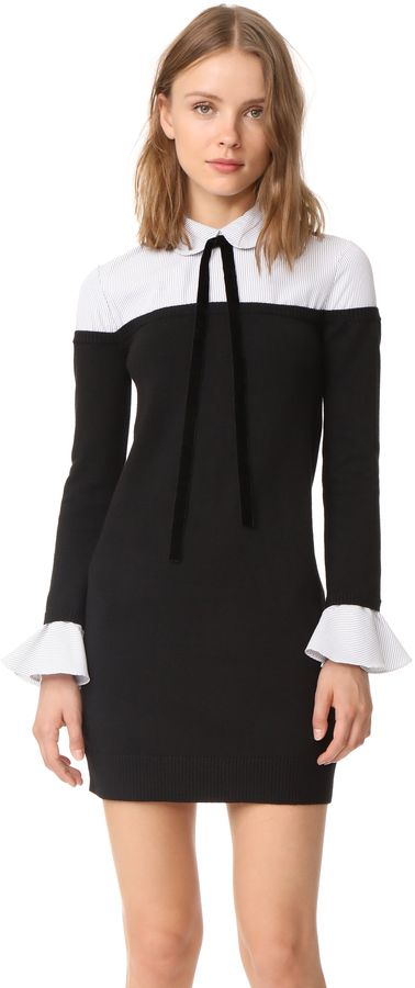 Black and white high neck long sleeve ENGLISH FACTORY Ruffle Combo Shirtdress