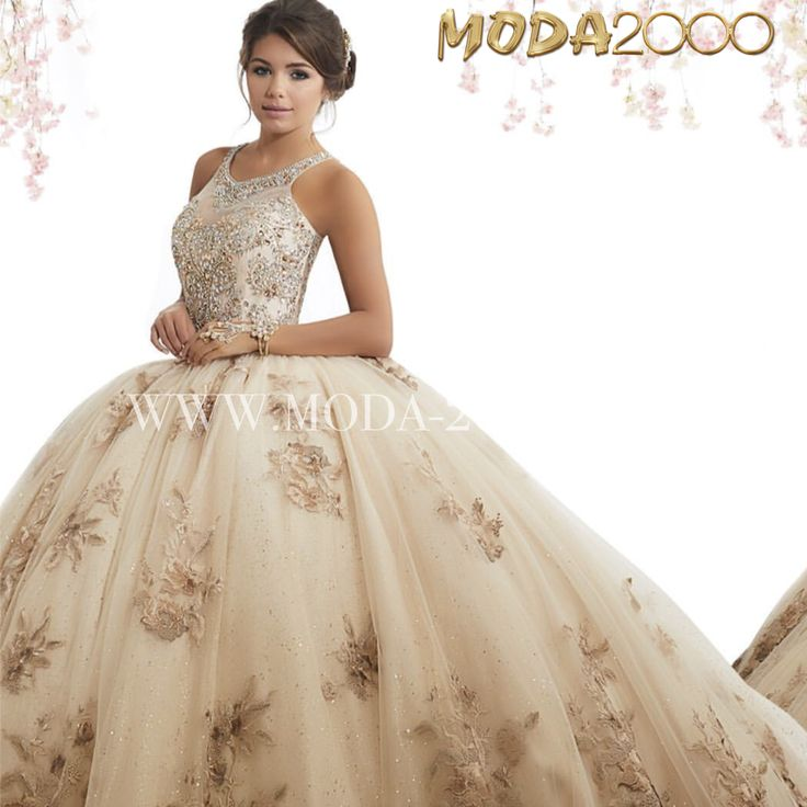 Beaded Crystal Champagne Gold Quinceanera Dress
