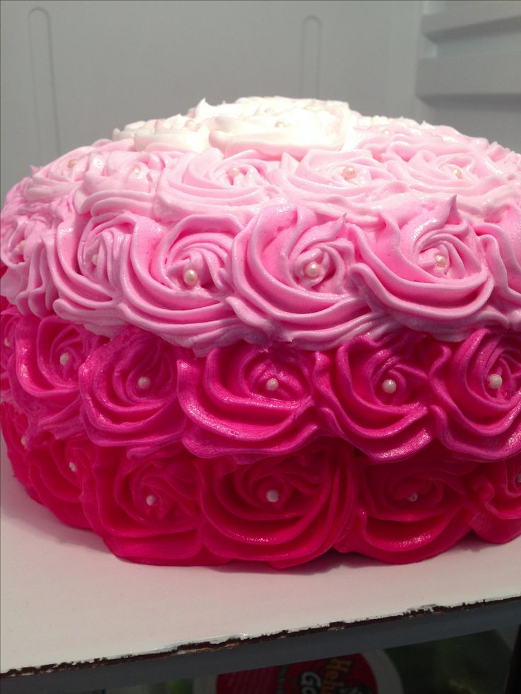 Pink Rosette Cake Images : Pink ombre rosette cake sweets made by me Pinterest ...