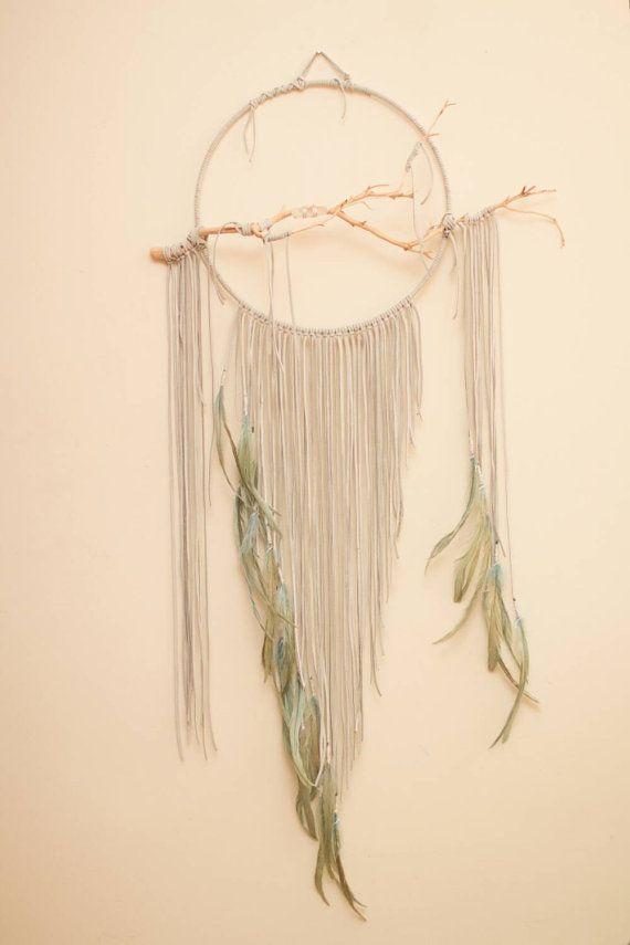 """Branche Dreamcatcher, Quetzal - 14"""", grand, gris blanc Cerqueira, des plumes…                                                                                                                                                                                 Plus"""