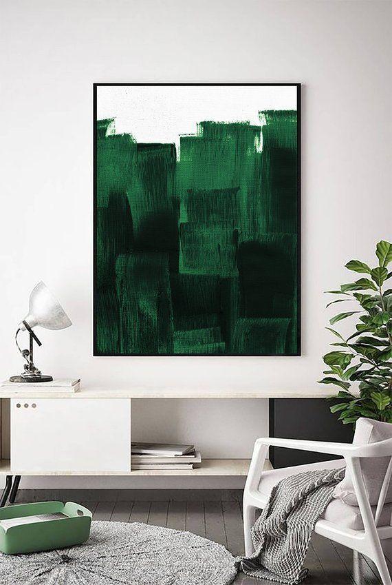 Forest Green Print   Dark Green Decor   Dark Green Painting   Contemporary Print   Green Art   Green Wall Art   Minimalist Print   Minimal