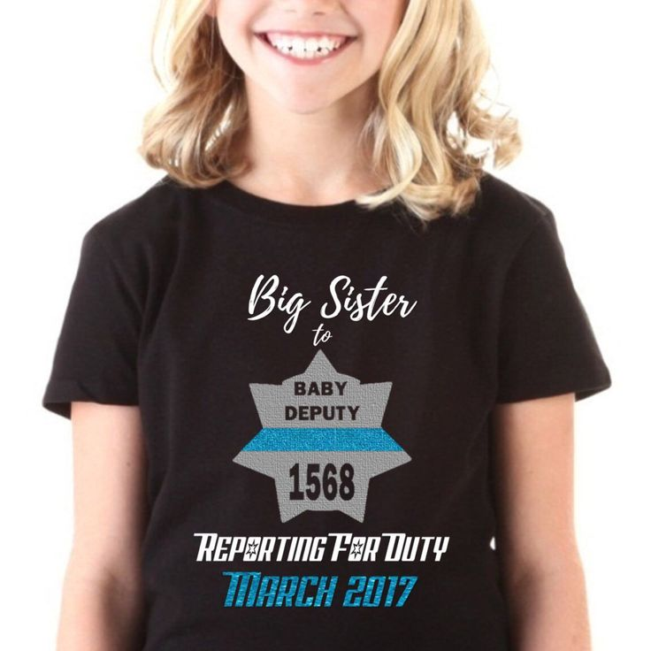 This new deputy police themed design can be customized according to the shape of your LEO's badge and anything written in the middle for a pregnancy announcement!  Wonderful for a big brother or big sister to announce their sibling!