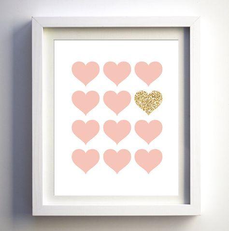 Rose et paillettes imprime sticker pépinière rose par FancyDigitals