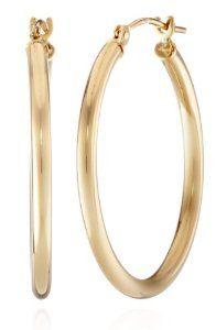 """Duragold 14k Gold Hoop Earrings (1"""" Diameter)"""